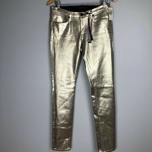 Juicy Jean Couture Gold Metallic Skinny Jeans 29